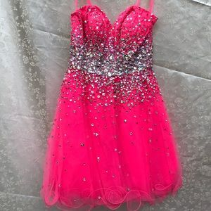 Mori Lee hot pink dress size 2 NWT